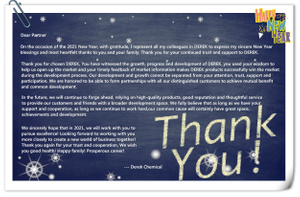 Year 2020 Letter of Thanks to All Partners